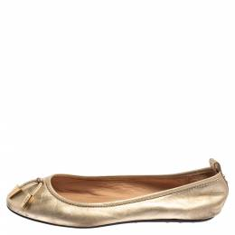 Tod's Gold Leather Studded Ballet Flats Size 35.5 363289