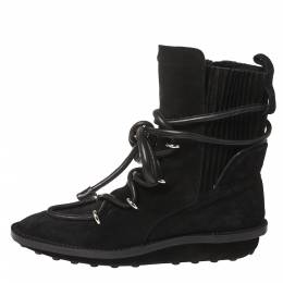 Balenciaga Black Suede Leather Snow Mountain Ankle Wrap Boots Size 39 363030