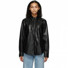 Agolde Black Faux-Leather Paloma Shirt A7060-1287