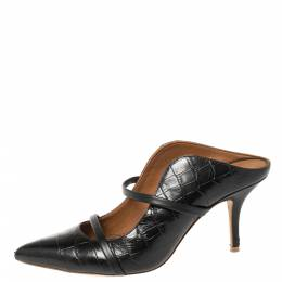 Malone Souliers Black Croc Embossed Leather Maureen Pointed Toe Mules Size 39 364824