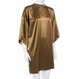 Givenchy Brown Silk Satin Crew Neck Tunic M 361960
