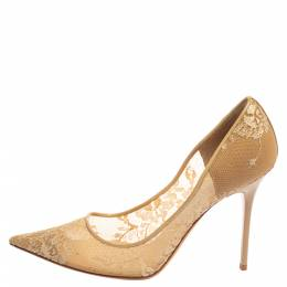 Jimmy Choo Beige Lace Romy 60 Pointed Toe Pumps Size 39.5 364688