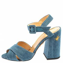 Charlotte Olympia Blue Denim Fabric Emma Embroidered Ankle Strap Sandals Size 38 364424