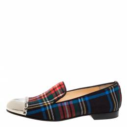 Christian Louboutin Multicolor Fabric Rollergirl Chain-Link Slip On Loafers Size 36.5 364917