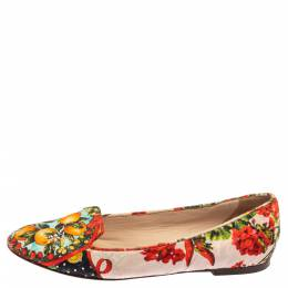 Dolce and Gabbana Multicolor Floral Print Brocade Fabric Smoking Slippers Size 38.5 364713