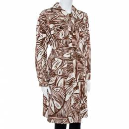 Max Mara White & Brown Printed Canvas Belted Coat M 365092