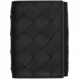 Bottega Veneta Black and Green Intrecciato Trifold Wallet 592678 VCPQ6