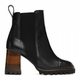 See by Chloe Black and Brown Mallory Heeled Boots SB33081A 10140