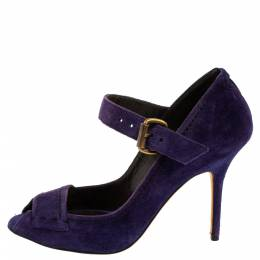 Manolo Blahnik Purple Suede Leather Open Toe Pumps Size 40.5 365782