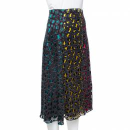 Alice+Olivia Multicolor Leopard Print Burnout Silk Janessa Skirt XS 365282