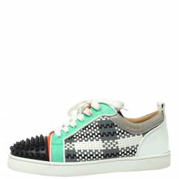 Christian Louboutin Multicolor Suede And Patent Leather Louis Junior Spikes Orlato Low Top Sneakers Size 40 366079