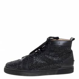 Christian Louboutin Black Leather Louis Strass High Top Sneakers Size 45 364627
