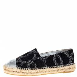 Chanel Black/Silver Tweed And Leather CC Cap Toe Espadrille Flats Size 39 366159