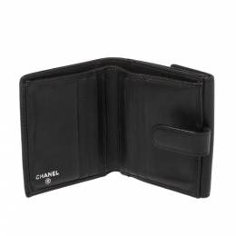 Chanel Black Leather Camellia Embossed Compact Wallet 366747