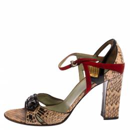 Prada Multicolor Python And Leather Embellished Ankle Strap Sandals Size 39.5 366672