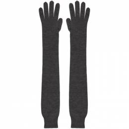 The Row Grey Cashmere and Silk Besede Gloves 5504-F457