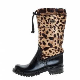 Dolce and Gabbana Black/Brown Leopard Print Nylon and Leather Drawstring Mid Length Rain Boots Size 36 367282