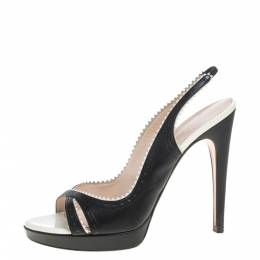 Casadei Black/White Leather Open Toe Slingback Sandals Size 40 367160
