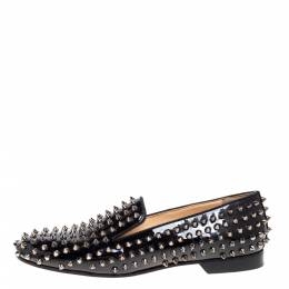 Christian Louboutin Black Patent Leather Rollerboy Spike Loafers Size 40 366696