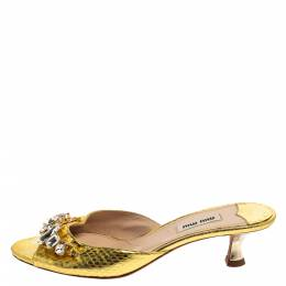 Miu Miu Gold Python Embossed Leather Crystal Embellished Open Toe Sandals Size 38.5 367213