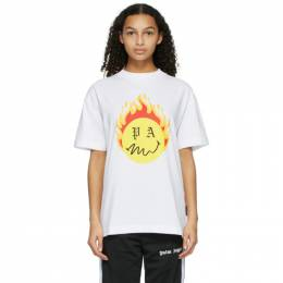 Palm Angels White Smiley Edition Burning Head Logo T-Shirt PMAA001R21JER0040118