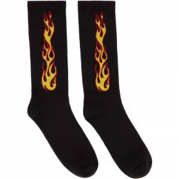Palm Angels Black Flames Socks PMRA001R21FAB0011020