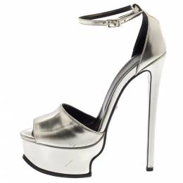 Roberto Cavalli Silver Leather Platform Ankle Strap Sandals Size 38 367576