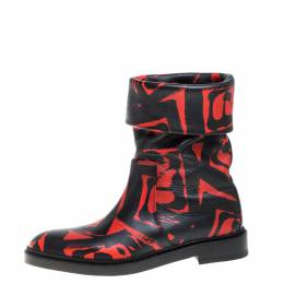 Paul Andrew Black/Red Printed Leather Rian Ankle Boots Size 37 367370