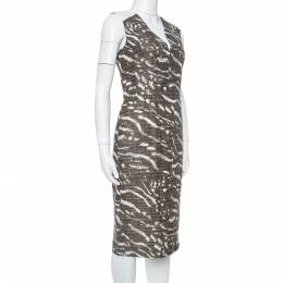 Max Mara Brown & Beige Tweed Sleeveless Midi Dress M 367561