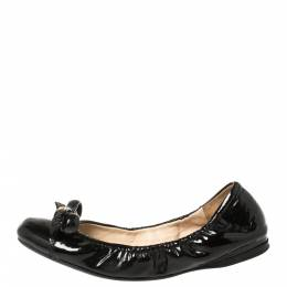 Prada Black Leather Bow Scrunch Ballet Flats Size 37 368341