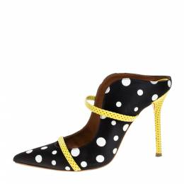 Malone Souliers Black Polka Dots Nylon and Leather Trim Maureen Pointed Toe Mules Size 39 368212