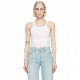 Re/done White Ribbed Tank Top R24-2WTK1