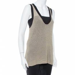 Zadig & Voltaire Cream Striped Knit Joss Fishnet Tank Top M 368222