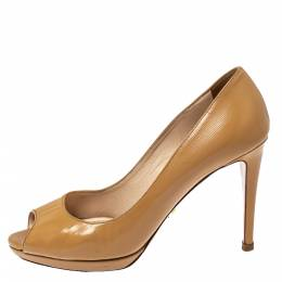 Prada Light Beige Patent Leather Peep Toe Platform Pumps Size 37 368360