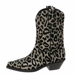 Dolce and Gabbana Black/Silver Animal Print Lurex and Velvet Cowboy Boots Size 36 368368
