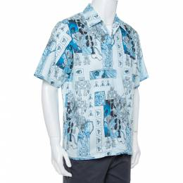 Prada Blue Robot Printed Cotton Bowling Shirt XL 368319