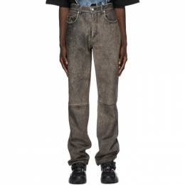 We11Done Black Leather Washed Trousers WD-R29-20-086-M-BK