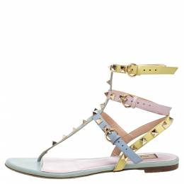 Valentino Multicolor Leather Rockstud Thong Flat Sandals Size 37 368243