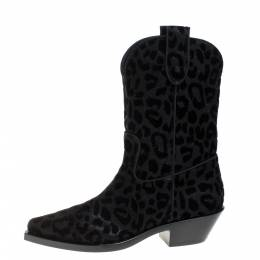 Dolce and Gabbana Black Animal Print Lurex and Velvet Cowboy Boots Size 37.5 368340