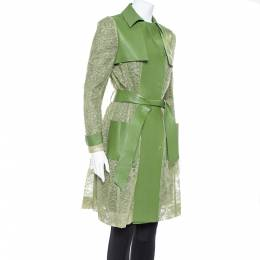Valentino Green Leather & Lace Belted Trench Coat M 368613