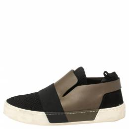 Balenciaga Black/Khaki Leather/Suede, and Knit Fabric Slip On Sneakers Size 43 368671