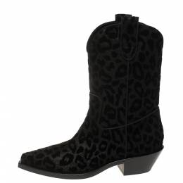 Dolce and Gabbana Black Animal Print Lurex and Velvet Cowboy Boots Size 38.5 369560