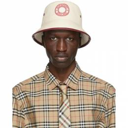 Burberry Beige and Red Canvas Logo Bucket Hat 8038166