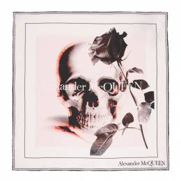 Alexander McQueen Off-White and Pink Rose Ghost Bandana 650188 3001Q