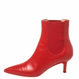 Gianvito Rossi Red Leather Ankle Boots Size 36.5 370538