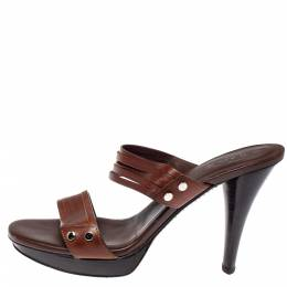 Tod's Dark Brown Leather Strappy Slide Sandals Size 41 370423