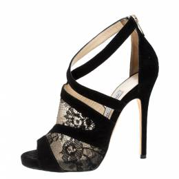 Jimmy Choo Black Suede and Lace Virion Inset Glove Sandals Size 36.5 370424