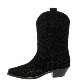 Dolce and Gabbana Black Animal Print Lurex and Velvet Cowboy Boots Size 40 370393