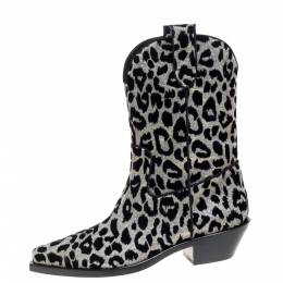 Dolce and Gabbana Black/Silver Animal Print Lurex and Velvet Cowboy Boots Size 39.5 370980