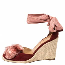 Aquazzura Red Suede Lotus Blossom Espadrille Wedge Ankle Wrap Sandals Size 39 370341